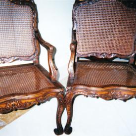 Louis XV Chairs c.1930, Wax Finish, recaning, Miami, FL